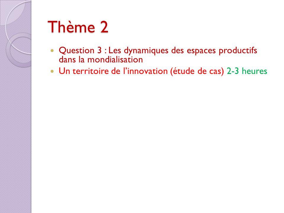 Thème 2 Question 3 : Les dynamiques des espaces productifs dans la mondialisation Un territoire de linnovation (étude de cas) 2-3 heures