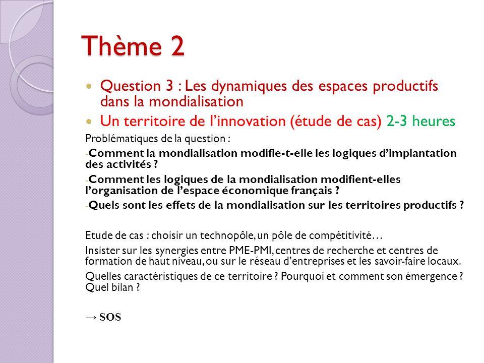 Thème 2 Question 3 : Les dynamiques des espaces productifs dans la mondialisation Un territoire de linnovation (étude de cas) 2-3 heures Problématique