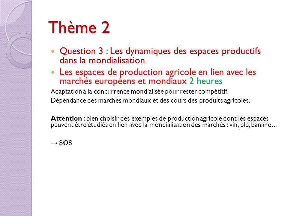 Thème 2 Question 3 : Les dynamiques des espaces productifs dans la mondialisation Les espaces de production agricole en lien avec les marchés européen