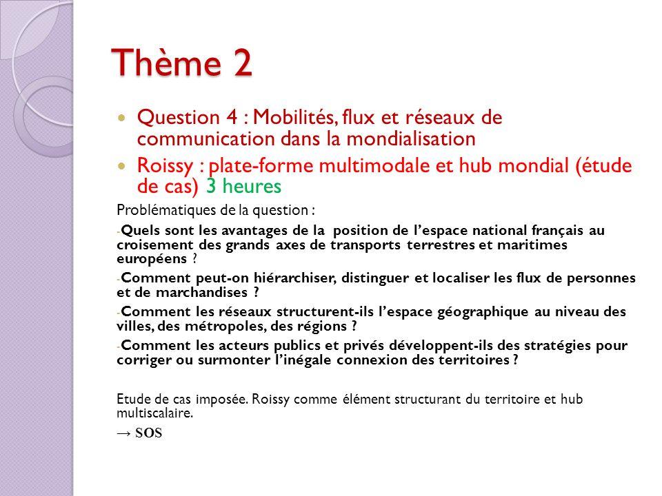 Thème 2 Question 4 : Mobilités, flux et réseaux de communication dans la mondialisation Roissy : plate-forme multimodale et hub mondial (étude de cas)