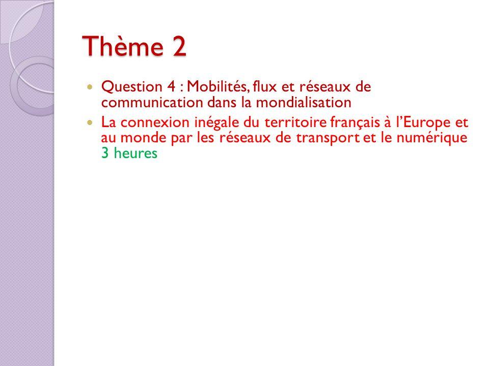 Thème 2 Question 4 : Mobilités, flux et réseaux de communication dans la mondialisation La connexion inégale du territoire français à lEurope et au mo