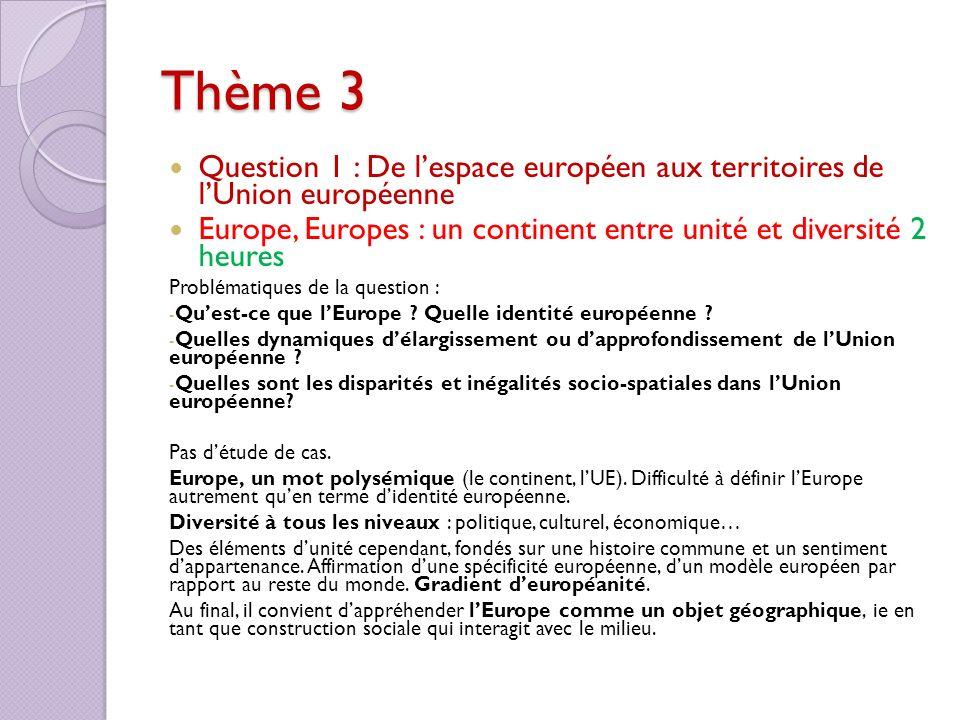 Thème 3 Question 1 : De lespace européen aux territoires de lUnion européenne Europe, Europes : un continent entre unité et diversité 2 heures Problém