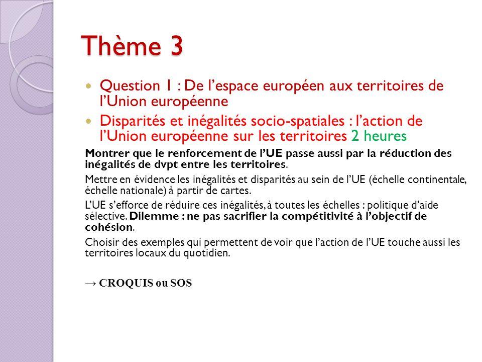 Thème 3 Question 1 : De lespace européen aux territoires de lUnion européenne Disparités et inégalités socio-spatiales : laction de lUnion européenne
