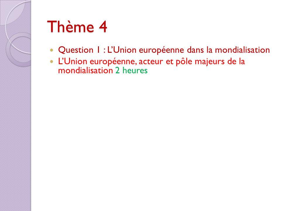 Thème 4 Question 1 : LUnion européenne dans la mondialisation LUnion européenne, acteur et pôle majeurs de la mondialisation 2 heures