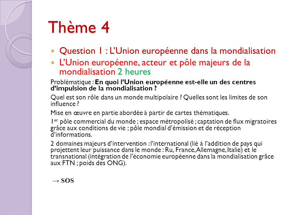Thème 4 Question 1 : LUnion européenne dans la mondialisation LUnion européenne, acteur et pôle majeurs de la mondialisation 2 heures Problématique :