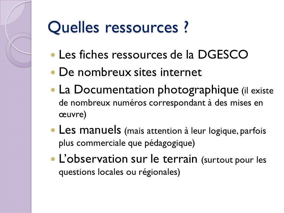 Quelles ressources ? Les fiches ressources de la DGESCO De nombreux sites internet La Documentation photographique (il existe de nombreux numéros corr