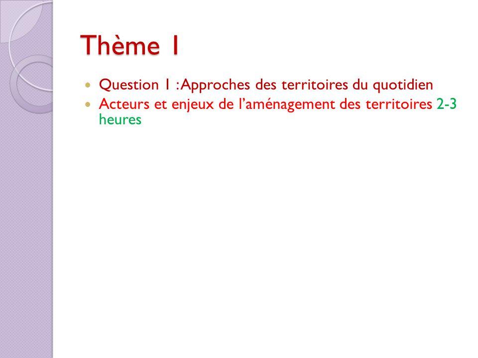 Thème 1 Question 1 : Approches des territoires du quotidien Acteurs et enjeux de laménagement des territoires 2-3 heures