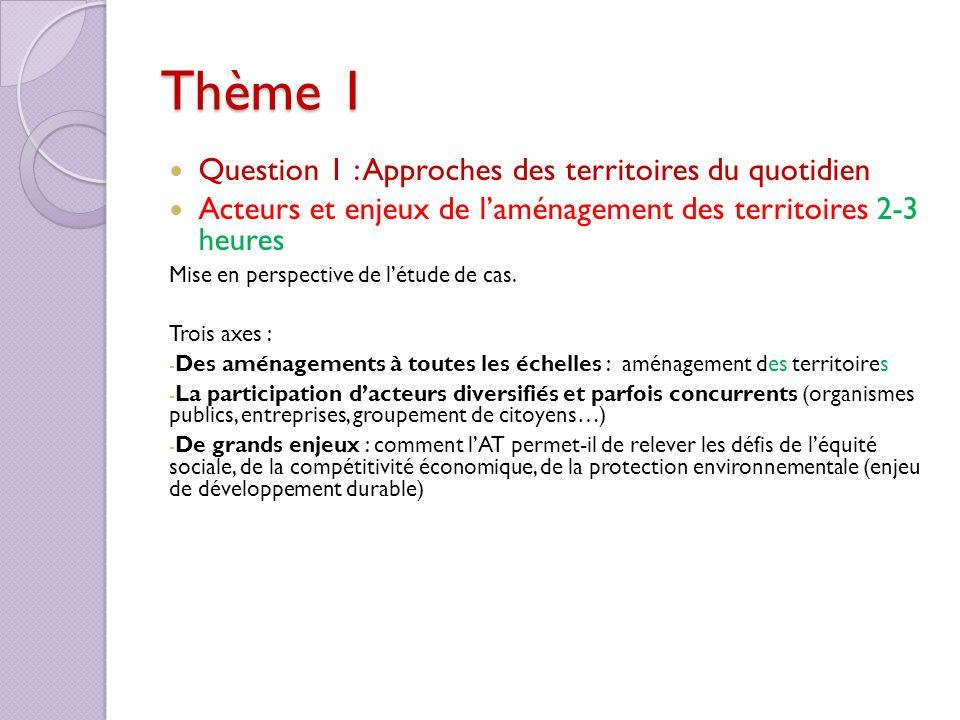 Thème 1 Question 1 : Approches des territoires du quotidien Acteurs et enjeux de laménagement des territoires 2-3 heures Mise en perspective de létude