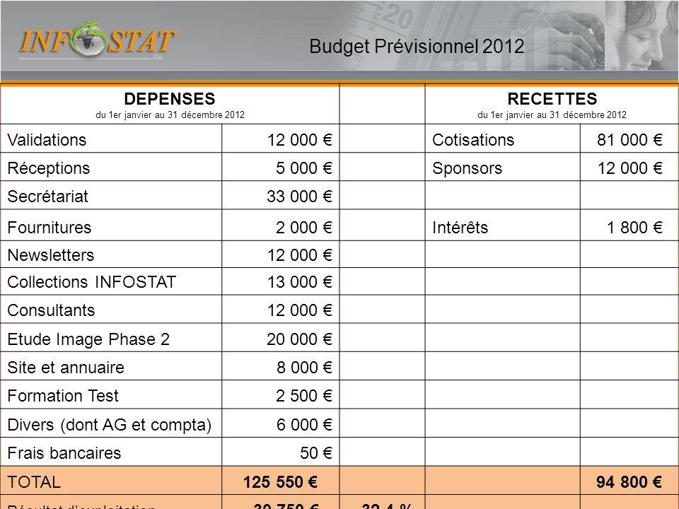 DEPENSES du 1er janvier au 31 décembre 2012 RECETTES du 1er janvier au 31 décembre 2012 Validations12 000 Cotisations81 000 Réceptions5 000 Sponsors12