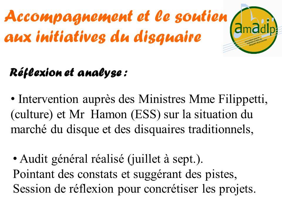 Réflexion et analyse : Accompagnement et le soutien aux initiatives du disquaire Intervention auprès des Ministres Mme Filippetti, (culture) et Mr Ham