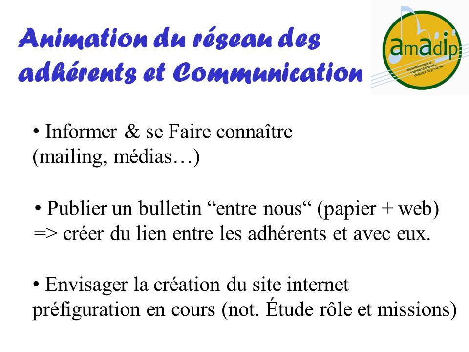 Informer & se Faire connaître (mailing, médias…) Animation du réseau des adhérents et Communication Publier un bulletin entre nous (papier + web) => c