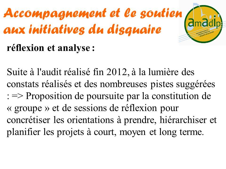 réflexion et analyse : Suite à l'audit réalisé fin 2012, à la lumière des constats réalisés et des nombreuses pistes suggérées : => Proposition de pou