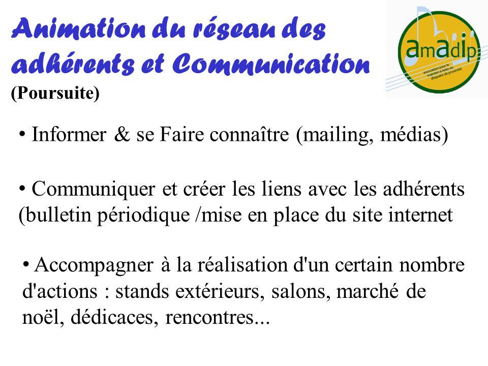 Informer & se Faire connaître (mailing, médias) Animation du réseau des adhérents et Communication (Poursuite) Communiquer et créer les liens avec les