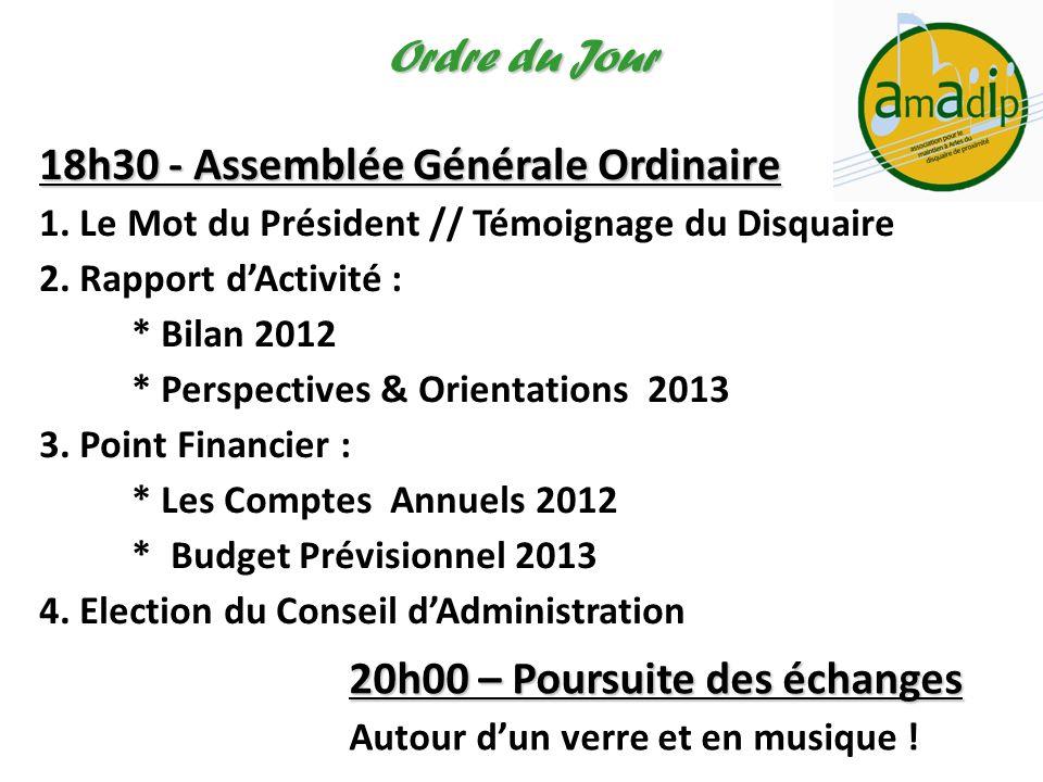 Ordre du Jour 18h30 - Assemblée Générale Ordinaire 1. Le Mot du Président // Témoignage du Disquaire 2. Rapport dActivité : * Bilan 2012 * Perspective