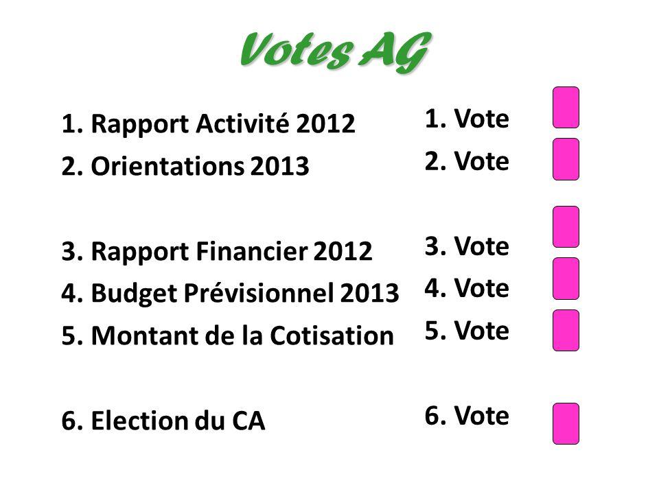 1. Rapport Activité 2012 2. Orientations 2013 3. Rapport Financier 2012 4. Budget Prévisionnel 2013 5. Montant de la Cotisation 6. Election du CA Vote