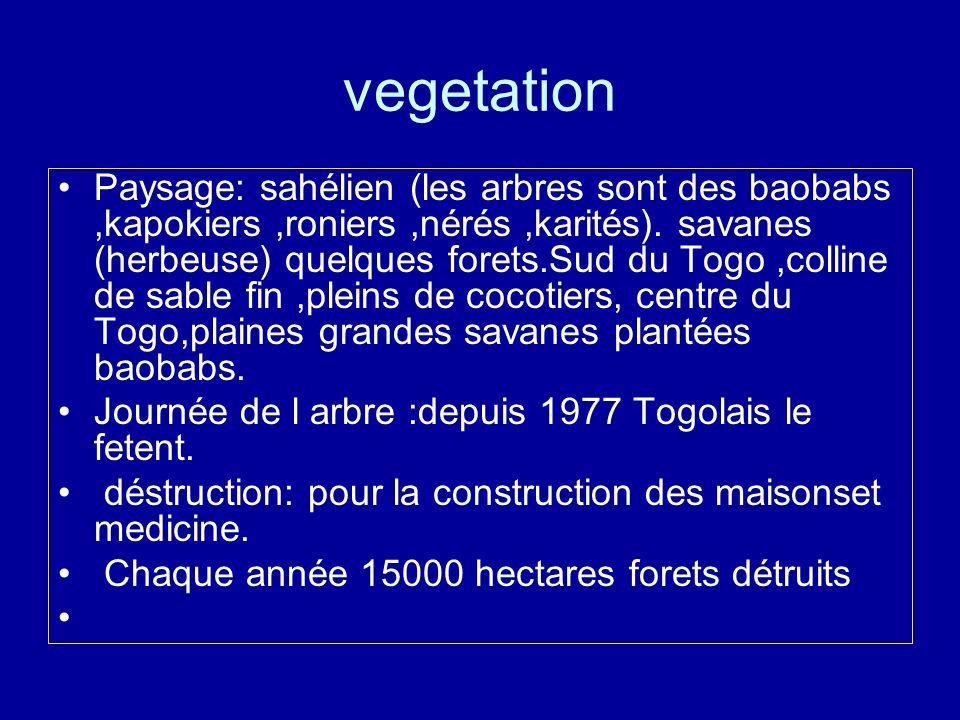 vegetation Paysage: sahélien (les arbres sont des baobabs,kapokiers,roniers,nérés,karités). savanes (herbeuse) quelques forets.Sud du Togo,colline de