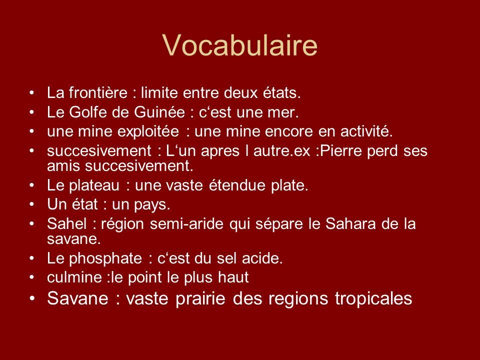 Vocabulaire La frontière : limite entre deux états. Le Golfe de Guinée : cest une mer. une mine exploitée : une mine encore en activité. succesivement
