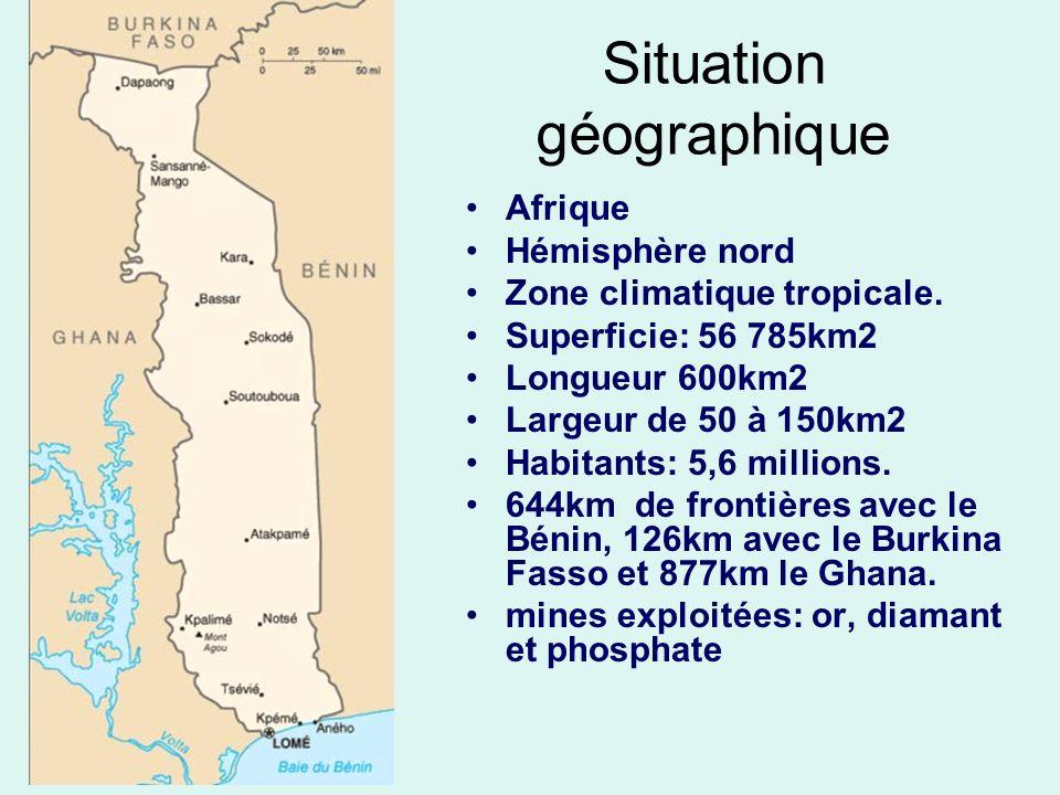 Situation géographique Afrique Hémisphère nord Zone climatique tropicale. Superficie: 56 785km2 Longueur 600km2 Largeur de 50 à 150km2 Habitants: 5,6