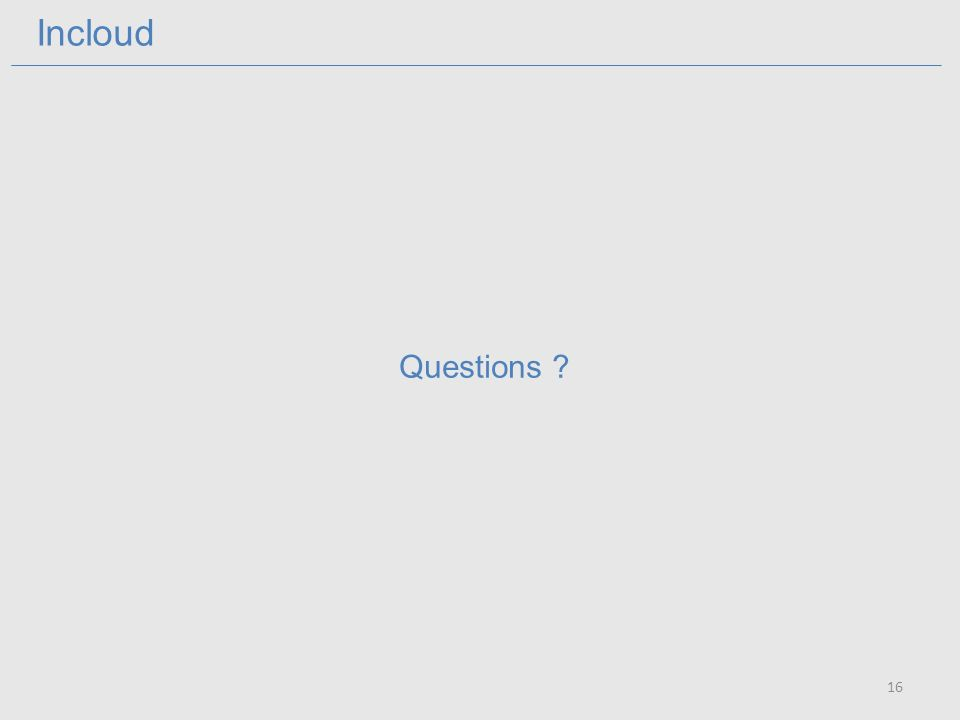 Incloud 16 Questions ?