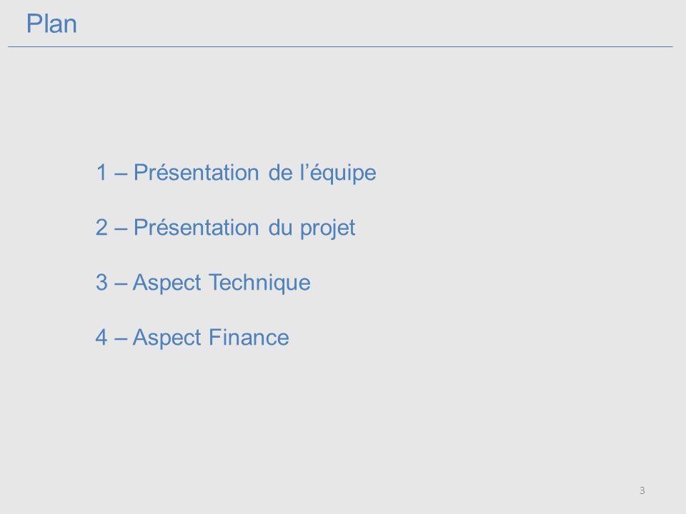 Plan 1 – Présentation de léquipe 2 – Présentation du projet 3 – Aspect Technique 4 – Aspect Finance 3