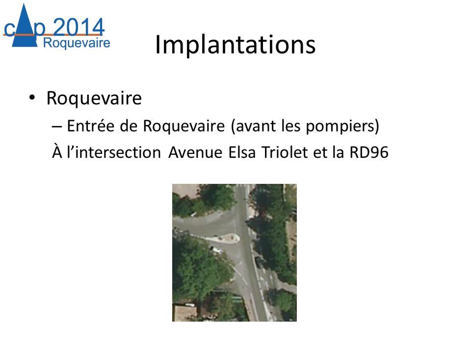 Implantations Roquevaire – Entrée de Roquevaire (avant les pompiers) À lintersection Avenue Elsa Triolet et la RD96