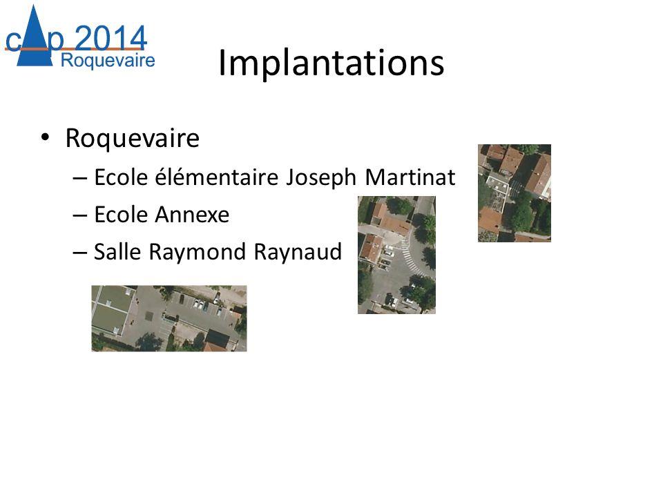 Implantations Roquevaire – Ecole élémentaire Joseph Martinat – Ecole Annexe – Salle Raymond Raynaud