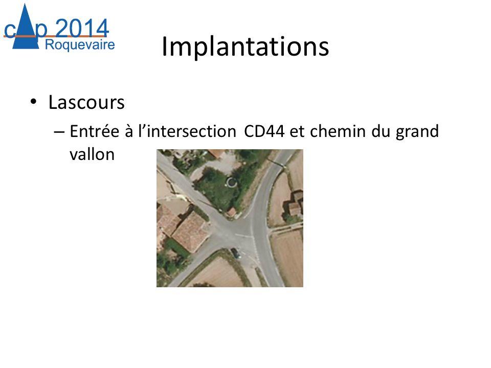 Implantations Lascours – Entrée à lintersection CD44 et chemin du grand vallon