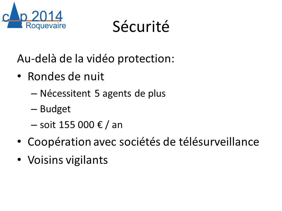 Sécurité Au-delà de la vidéo protection: Rondes de nuit – Nécessitent 5 agents de plus – Budget – soit 155 000 / an Coopération avec sociétés de télés