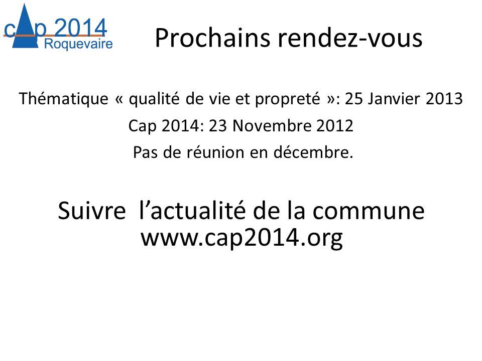 Prochains rendez-vous Thématique « qualité de vie et propreté »: 25 Janvier 2013 Cap 2014: 23 Novembre 2012 Pas de réunion en décembre. Suivre lactual