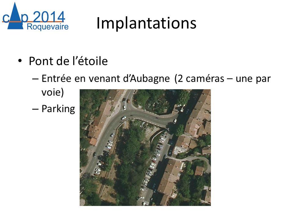 Implantations Pont de létoile – Entrée en venant dAubagne (2 caméras – une par voie) – Parking
