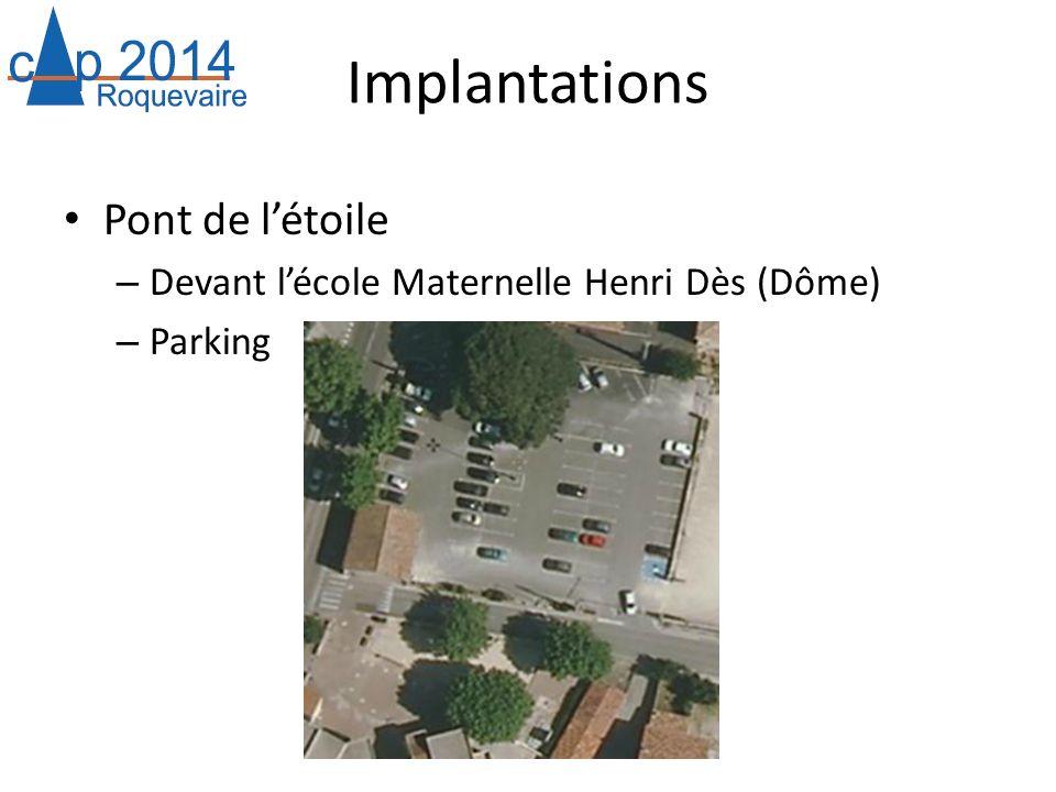 Implantations Pont de létoile – Devant lécole Maternelle Henri Dès (Dôme) – Parking