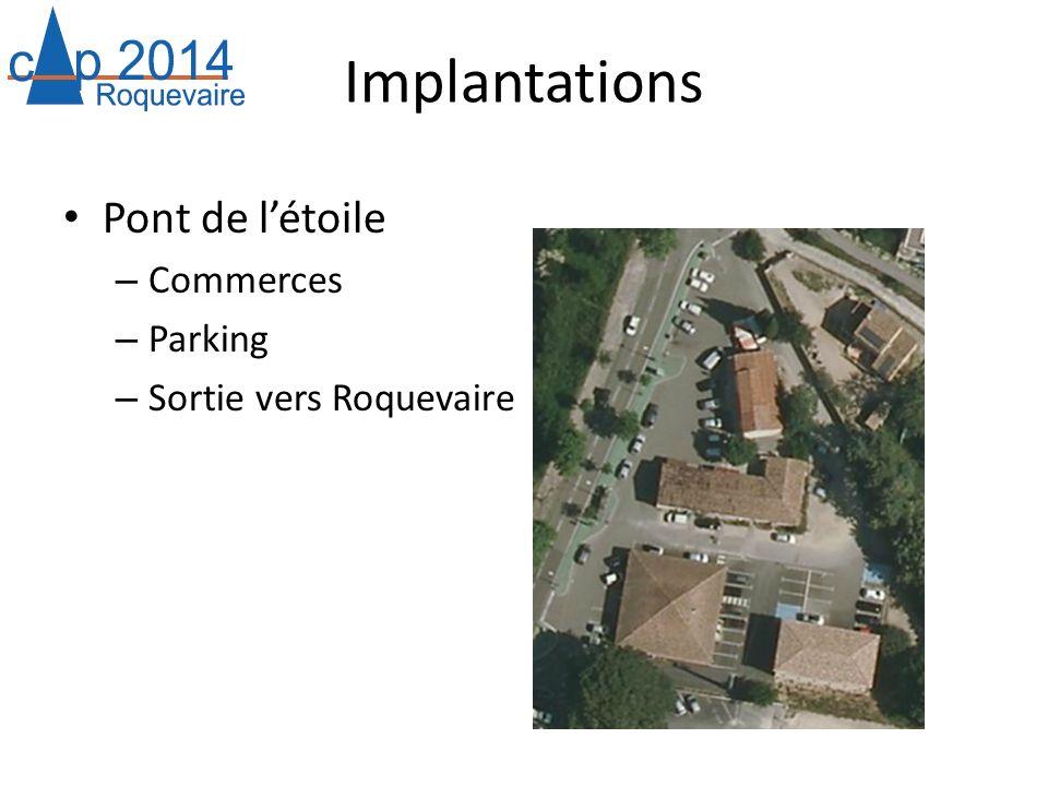 Implantations Pont de létoile – Commerces – Parking – Sortie vers Roquevaire
