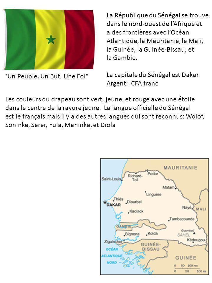 La République du Sénégal se trouve dans le nord-ouest de lAfrique et a des frontières avec lOcéan Atlantique, la Mauritanie, le Mali, la Guinée, la Guinée-Bissau, et la Gambie.