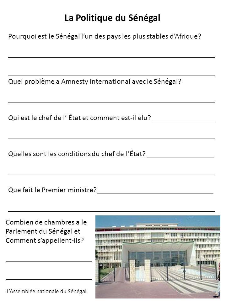 Pourquoi est le Sénégal lun des pays les plus stables dAfrique? _______________________________________________________ Quel problème a Amnesty Intern