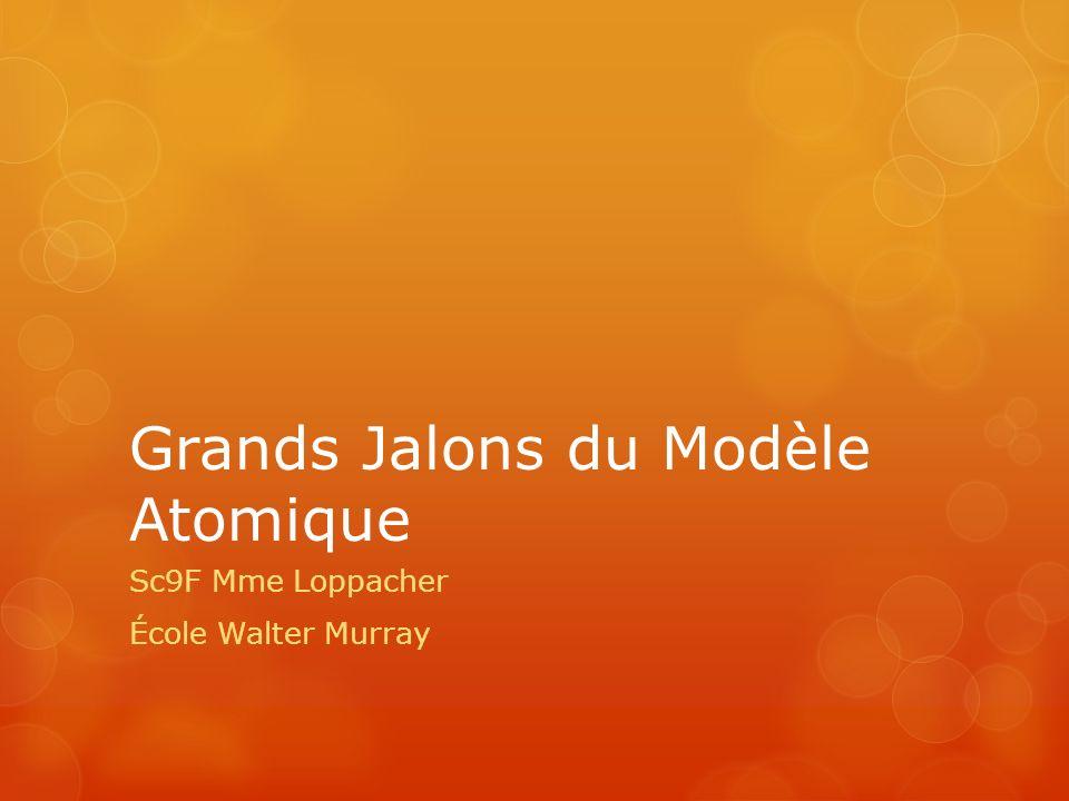 Grands Jalons du Modèle Atomique Sc9F Mme Loppacher École Walter Murray