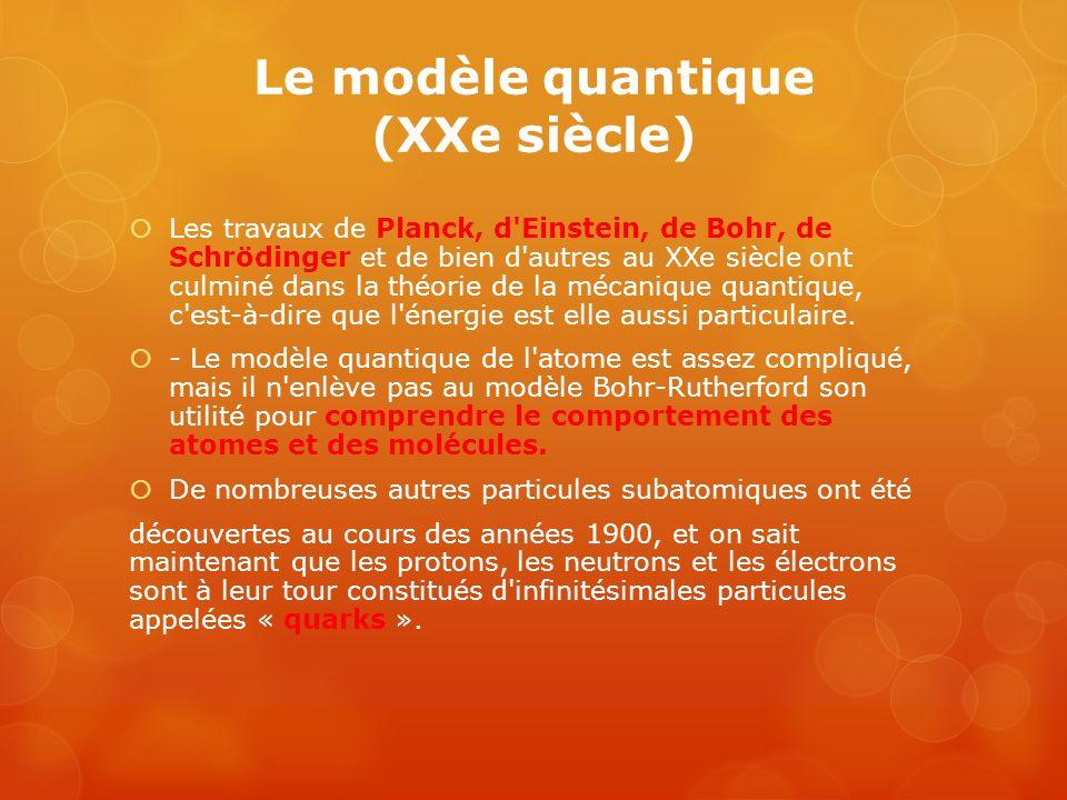 Le modèle quantique (XXe siècle) Les travaux de Planck, d'Einstein, de Bohr, de Schrödinger et de bien d'autres au XXe siècle ont culminé dans la théo
