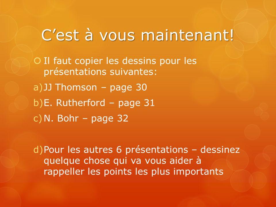 Cest à vous maintenant! Il faut copier les dessins pour les présentations suivantes: a)JJ Thomson – page 30 b)E. Rutherford – page 31 c)N. Bohr – page