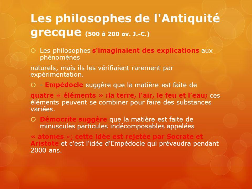 Les philosophes de l'Antiquité grecque (500 à 200 av. J.-C.) Les philosophes s'imaginaient des explications aux phénomènes naturels, mais ils les véri
