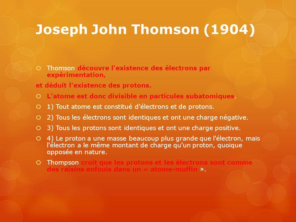 Joseph John Thomson (1904) Thomson découvre l'existence des électrons par expérimentation, et déduit l'existence des protons. L'atome est donc divisib