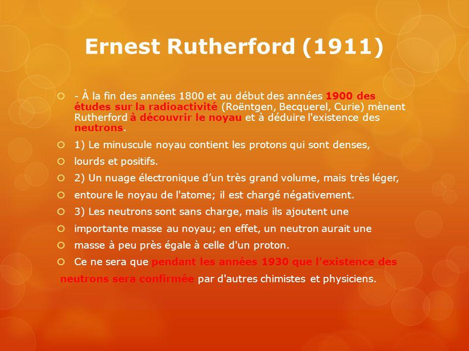 Ernest Rutherford (1911) - À la fin des années 1800 et au début des années 1900 des études sur la radioactivité (Roëntgen, Becquerel, Curie) mènent Ru