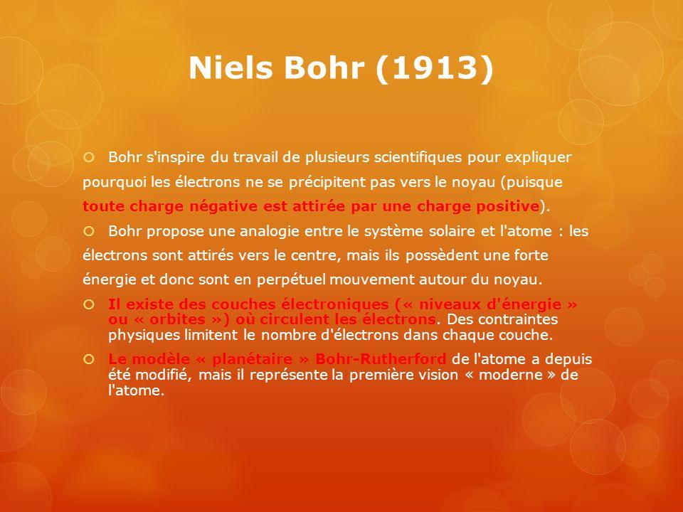 Niels Bohr (1913) Bohr s'inspire du travail de plusieurs scientifiques pour expliquer pourquoi les électrons ne se précipitent pas vers le noyau (puis