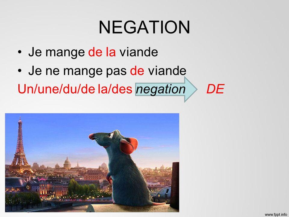 NEGATION Je mange de la viande Je ne mange pas de viande Un/une/du/de la/des negation DE