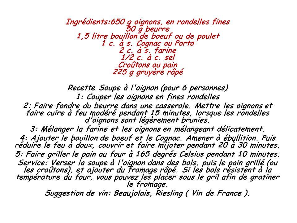 Ingrédients:650 g oignons, en rondelles fines 50 g beurre 1,5 litre bouillon de boeuf ou de poulet 1 c. à s. Cognac ou Porto 2 c. à s. farine 1/2 c. à