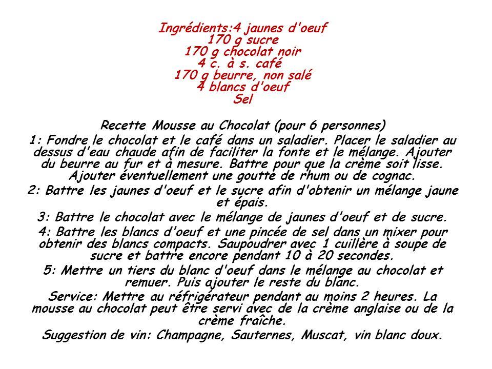 Ingrédients:4 jaunes d'oeuf 170 g sucre 170 g chocolat noir 4 c. à s. café 170 g beurre, non salé 4 blancs d'oeuf Sel Recette Mousse au Chocolat (pour