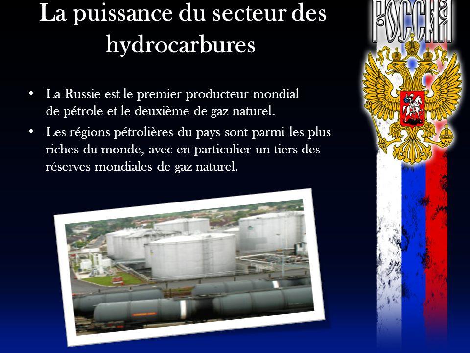 La puissance du secteur des hydrocarbures La Russie est le premier producteur mondial de pétrole et le deuxième de gaz naturel. Les régions pétrolière