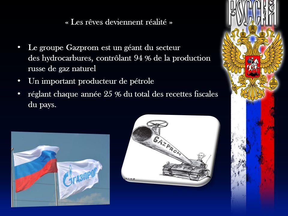 « Les rêves deviennent réalité » Le groupe Gazprom est un géant du secteur des hydrocarbures, contrôlant 94 % de la production russe de gaz naturel Un