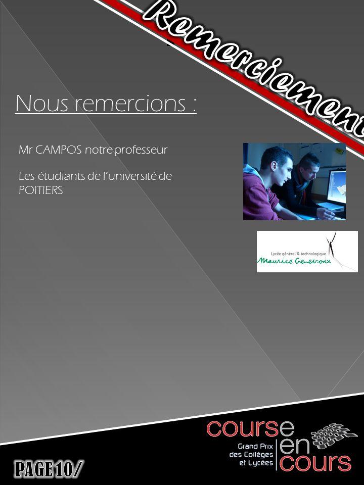 Nous remercions : Mr CAMPOS notre professeur Les étudiants de luniversité de POITIERS