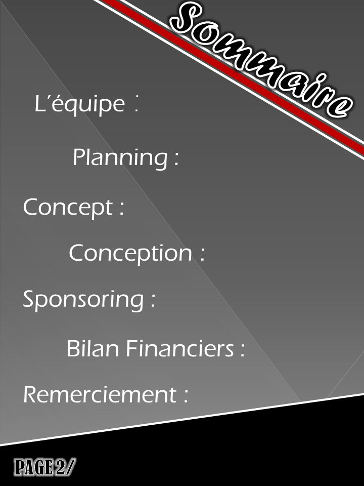 Léquipe : Planning : Concept : Conception : Sponsoring : Bilan Financiers : Remerciement :
