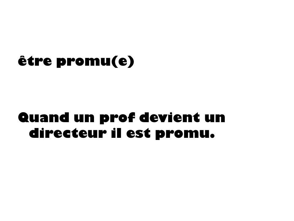 être promu(e) Quand un prof devient un directeur il est promu.