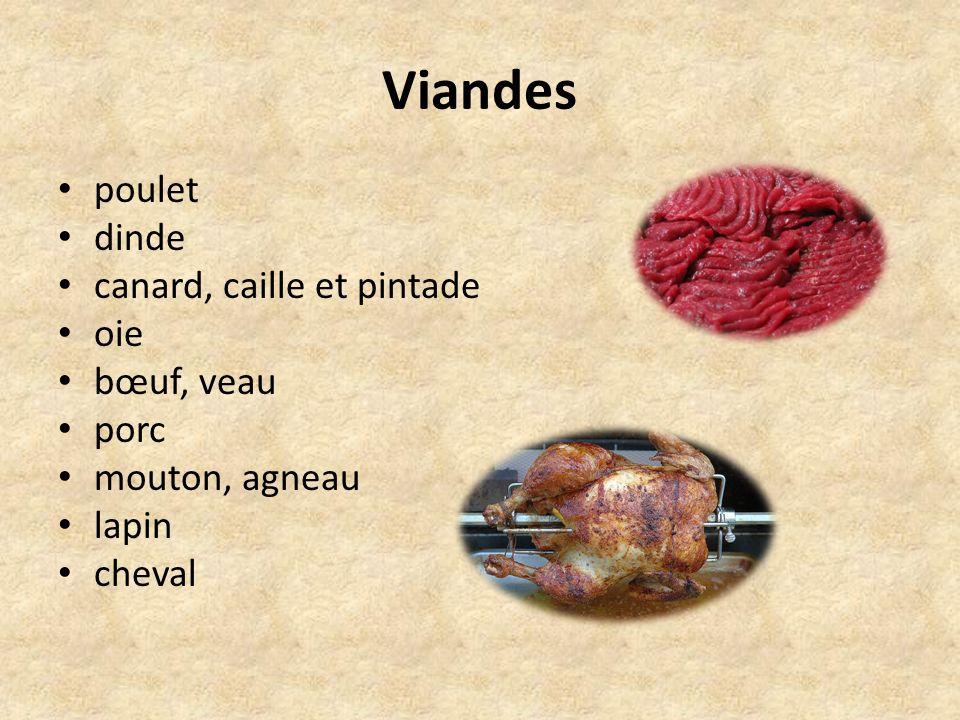 Viandes poulet dinde canard, caille et pintade oie bœuf, veau porc mouton, agneau lapin cheval